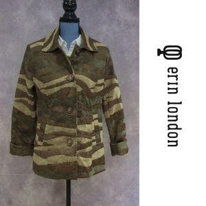 Erin London Brown Green Tapestry Jacket Blazer S